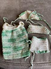 Vintage Barbie Or Skipper Hand-crocheted Bikini Dress And Kerchief