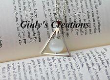 Collana I Doni della Morte Harry Potter pietra luna Perlescente Girevole cosplay
