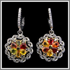 Gracefully Top Multi-color Sapphire White Cz 925 Sterling Silver Flower Earrings