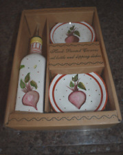 Hand Painted Ceramic Oil Bottle & Dipping Dishes Gift Set
