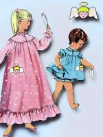 1950s Vintage Simplicity Sewing Pattern 1824 Toddler Girls Angel Nightgown Sz 4
