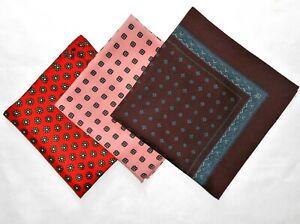 Vtg Pocket Square Lot of 3 Pink Blue Purple Red Green Handkerchief Mens