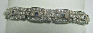 "ROSS SIMONS Sterling Silver Sapphire & CZ Tennis Bracelet 8"""