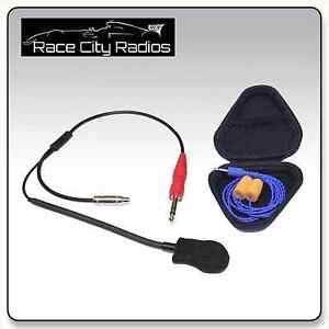 NASCAR Race Helmet Kit w/ M101 Mic Challenger Driver Ear Buds HJC Sparco