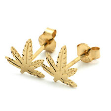 14k Yellow Gold Marijuana Leaf Stud Earrings