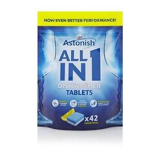 Astonish 5 In 1 Lemon Dishwasher Glass protector Tablets with Salt Rinse 42 Tabs