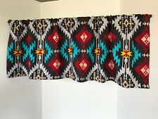 ValanceTribal Black Silver Turquoise Yellow Red Custom Made Window Treatment