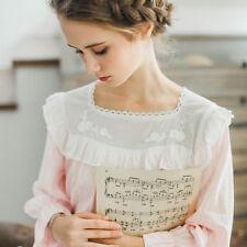 Women Cotton&Lace Pajama Sets Girl Long Sleeve Vintage Princess Lolita Sleepwear
