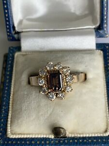 18ct Brown Emerald Cut Diamond Cluster Ring. Yellow Gold Size P Approx 0.85ct