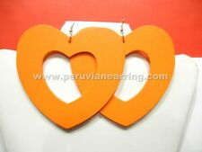 Wholesale of 12 pairs Bohemian Wood Wooden earrings Big Heart # 420