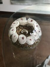 Vintage Millefiori Clear & White Paperweight Gold Lovely