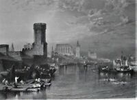 COLOGNE FROM THE RIVER.J.M.W. TURNER:A.WILLMORE sculpt.Um 1850.Sauber+fleckenfei