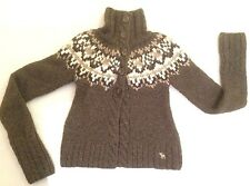 Abercrombie & Fitch Girl's Sz XL Soft Brown Wht Nordic Cable Cardigan Velvet Bel