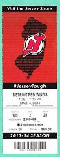 3-4-14 Red Winds at Devils Unused NHL Hockey Ticket   Devils Win  Brodeur Win