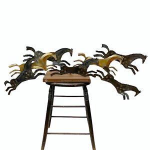 Vintage Mid Century Modern MCM Brutalist Horse Herd Metal Hanging Wall Sculpture