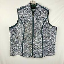 Catherines Women's Vest Size 3X Black & White Print Zip front Sleeveless