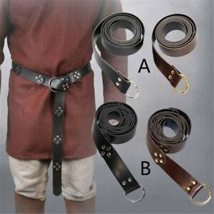 Unisex Medieval Leather Waist Belt Viking Knight Leather Belt Celtic Waistbands