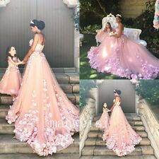 Princess Pink Mum&Daughter Flower Girl Dress Appliques Bridesmaid Ball Gowns New
