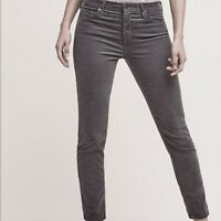 AG Adriano Goldschmied Stevie Slim Straight Ankle Corduroy in Grey - Size 29