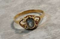 Antique 18K Yellow Gold Blue Topaz Double Rams Horn Ring