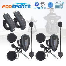 2x BT V8 Intercom Motorcycle Helmet 1200m Bluetooth Interphone NFC FM Headset