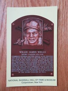 WILLIE JAMES WELLS Induction HALL OF FAME Plaque August 3, 1997 CANCELED Stamp
