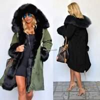 Schwarz Damen Wintermantel Faux-Pelz Kapuze Parka Damenjacke Outwear Jacken