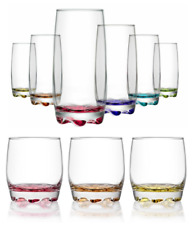 6pc Lowball Highball Tumbler Glassware Curved Drinking Glass Set Coloured Tall
