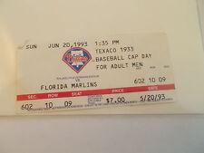 Philadelphia Phillies Florida Marlins 6-20-93 Ticket Stub John Kruk HR SK3