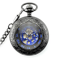 Orologio da Tasca Vintage Uomo Romano Steampunk Pocket Watch Meccanico Incisione