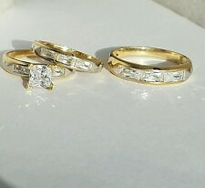His hers Princess Tri 3 pc 10K Yellow Gold Engagement Wedding Band Ring Set S7