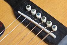 Don's (6) Red Sindhi Bone Guitar Bridge Pins Abalone Dot Brass Skirt