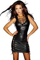 Women Lace Up Lingerie Stripper PVC Mini Dress Clubwear Party Catsuit Jumpsuit