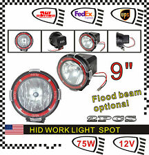 2pcs 9inch 75W 12V HID Xenon Work Light Lamp For ATV Fog Offroad SUV 4 x 4 UTE