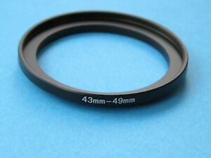 43mm to 49mm Step Up Step-Up Ring Camera Lens Filter Adapter Ring 43mm-49mm
