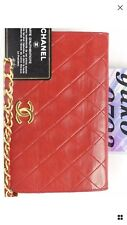 i8186 Auth CHANEL Red Quilted Lambskin Full Flap CC push Lock Chain Shoulder Bag