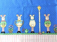 Daisy Kingdom Fabric HAPPY SPRING Double Border Cotton Bunny Rabbit Birdhouses