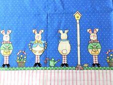 Daisy Kingdom Fabric HAPPY SPRING Border Cotton Bunny Rabbit Birdhouse Gore Evan