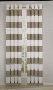"NEW Nautica Window Drapery Pair 104"" x 84"" Inches Taupe and White"