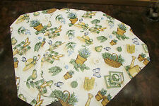 "PLACEMATS, 4 reversible 16.5 x 10.5"" w/gardeners' theme, smaller luncheon size"