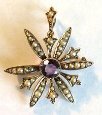 Semilla de Victoriano de oro, perla Y Broche/Colgante Amatista