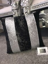 Crushed Velvet Glitter Stripe Cushion - Black Velvet Silver Glitter