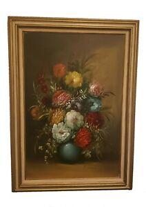 Stunning Vintage Still Life Framed Oil on Canvas Painting Signed