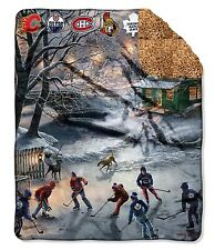 "NHL All Canadian Teams 50"" x 60"" Fleece Sherpa Throw Blanket"