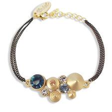 Damen-Armband mit Kristallen von Swarovski® Gold Blau Rose NOBEL SCHMUCK