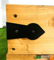 4 X ARROW HEAD CORNER Decorative Timber Railway Sleeper Brackets Planter Black
