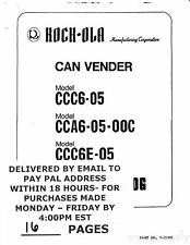 Rock-ola Can Vender CCC6-05 CCA6-05-00C CCC6E-05 Parts Catalog PDF by email