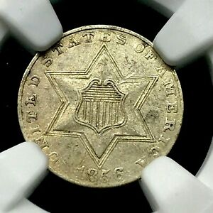 1856 Three Cent Silver Coin 3CS - Certified NGC AU Details -Cleaned.