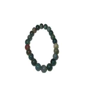 Jet Beautiful Indian Agate Round Beads Stretch Bracelet A++ Natural