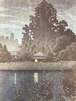 "KAWASE HASUI ORIGINAL JAPANESE WOODBLOCK PRINT ""RAIN AT OMIYA"" 1930 RARE WOODCUT"
